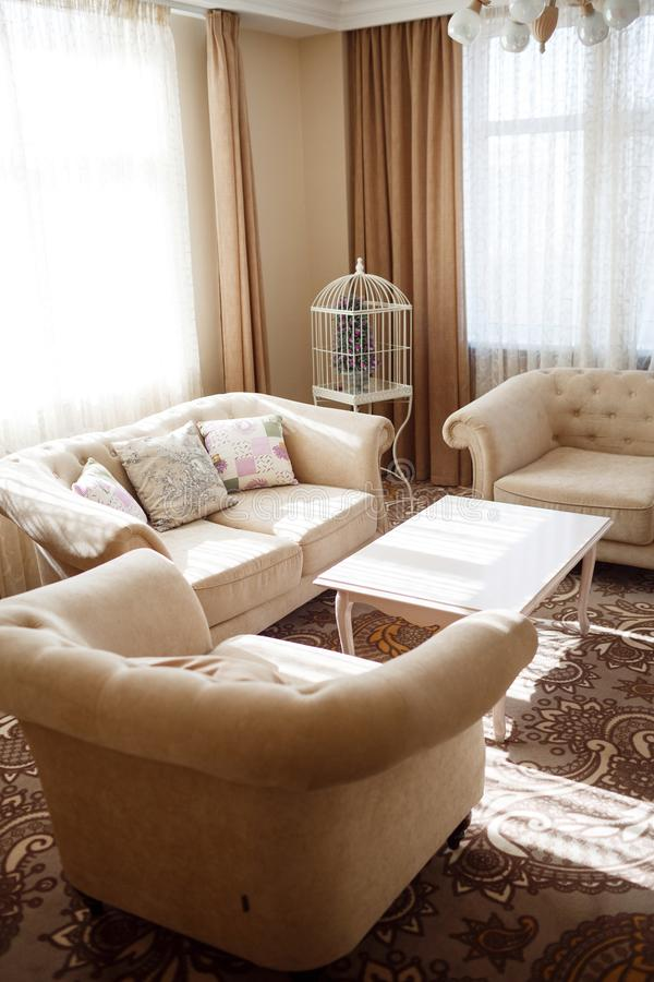 Interior with light soft furniture royalty free stock image