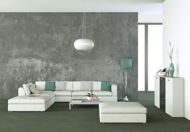 Bright room with white sofa and table royalty free illustration