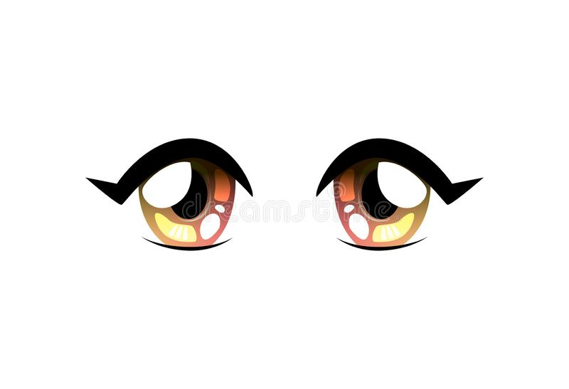 Bright Round Shape Eyes, Beautiful Eyes with Light Reflections Manga Japanese Style Vector Illustration. On White Background vector illustration