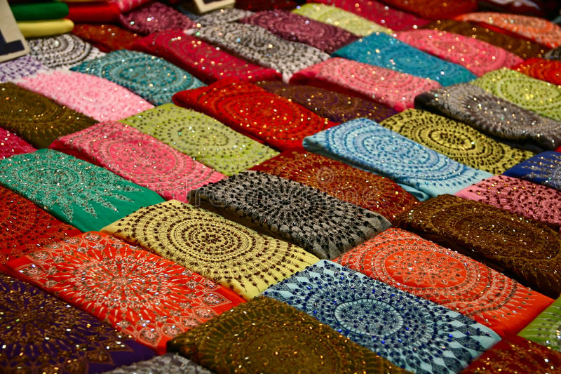 Bright scarves. This is the background of the bright shawls. Night Market. Chiang Mai royalty free stock image
