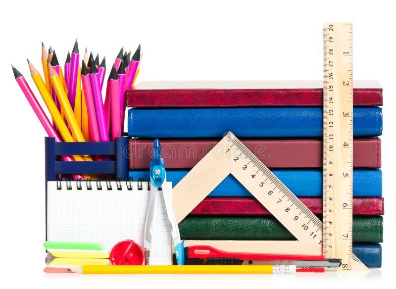 Bright school accessories stock photos