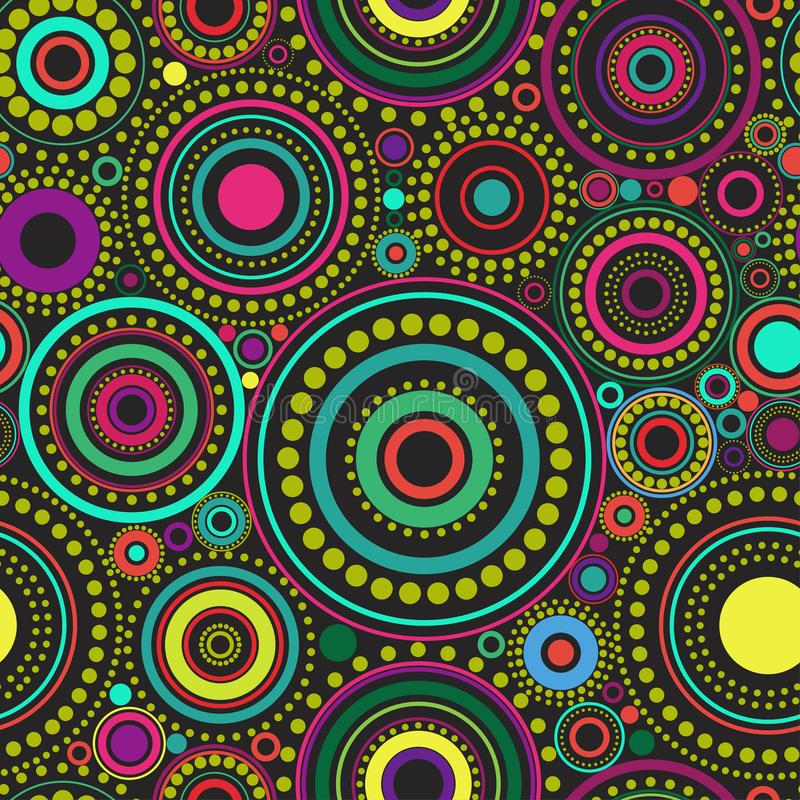 Bright seamless abstract pattern of colorful circles and dots on black background. Kaleidoscope backdrop. vector illustration