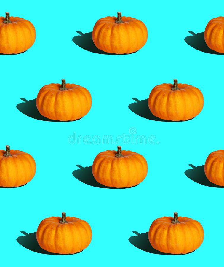 Bright seamless background, pumpkin with hard light vector illustration
