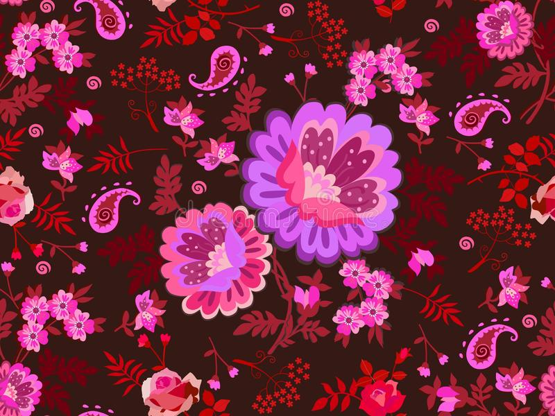 Bright seamless floral ornament with bunch of flowers in folk style and little paisley on dark brown background. Print for fabric stock illustration