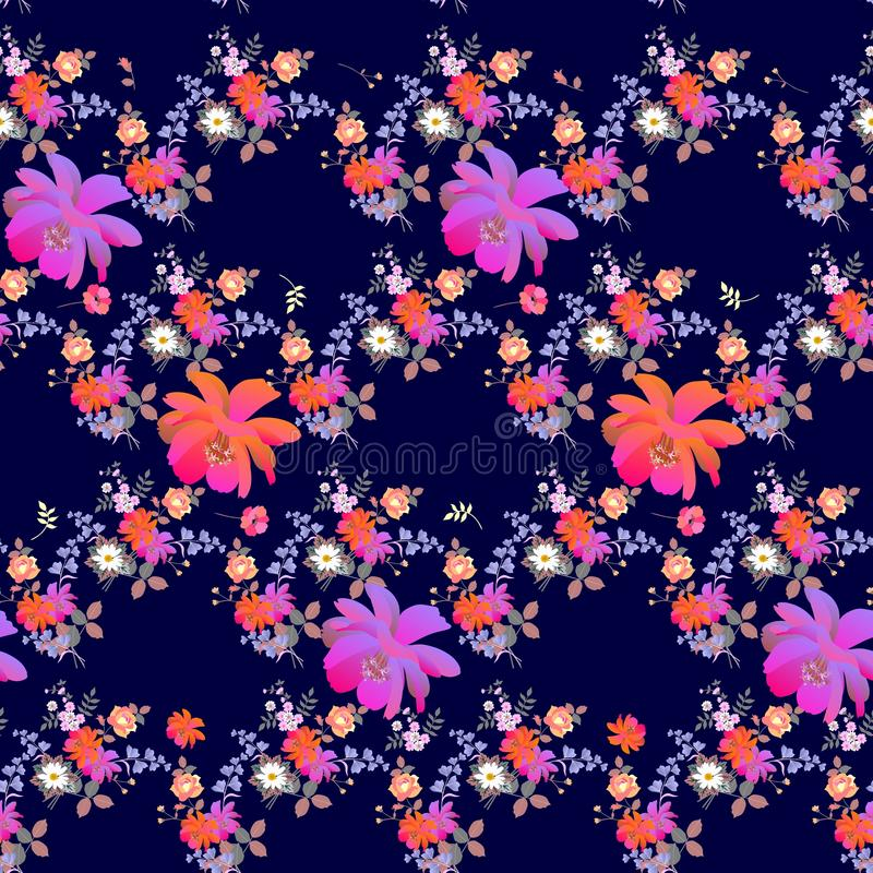Bright seamless floral pattern with poppies, roses, daisies, bell and cosmos flowers in watercolor style on dark blue background. Romantic summer print for royalty free illustration