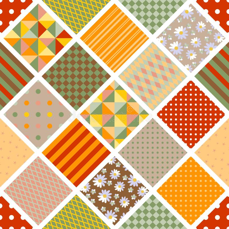 Bright seamless patchwork print with different patterns - floral and geometric stock illustration