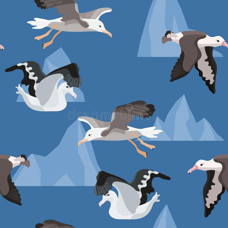 Bright seamless pattern with birds albatross from. Antarctica royalty free illustration