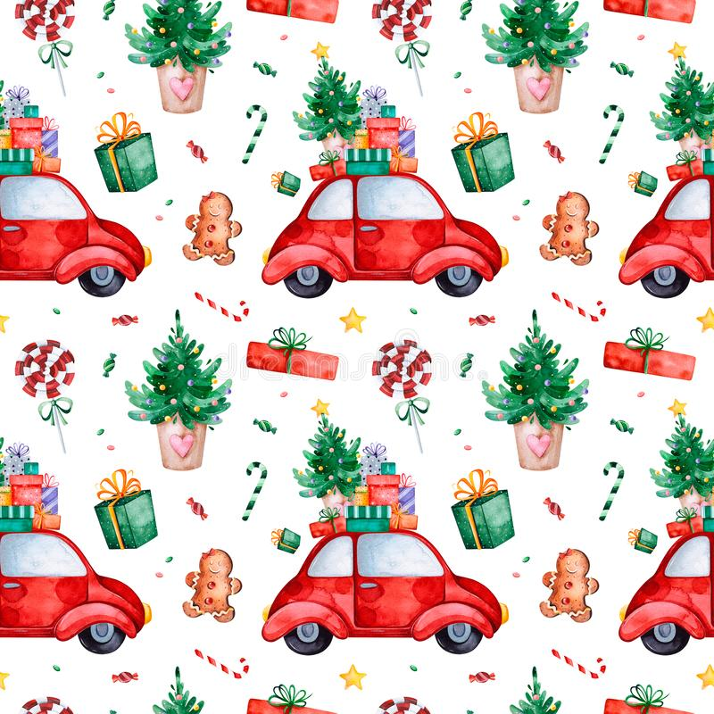 Bright seamless pattern with Christmas tree,candy,red retro car,gift and more royalty free illustration