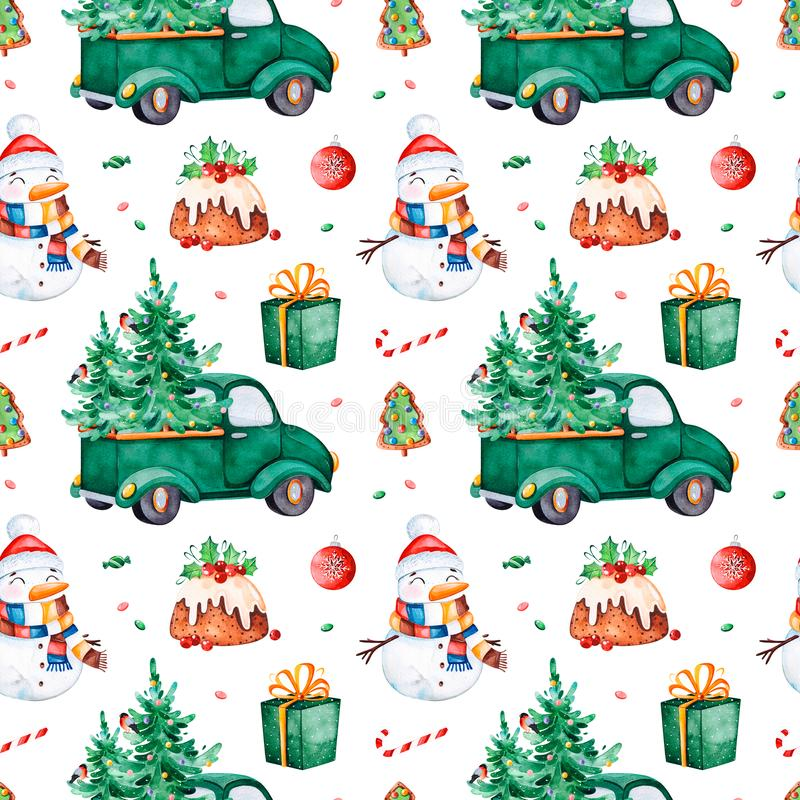 Bright seamless pattern with Christmas tree,candy,truck,gift,snowman stock illustration