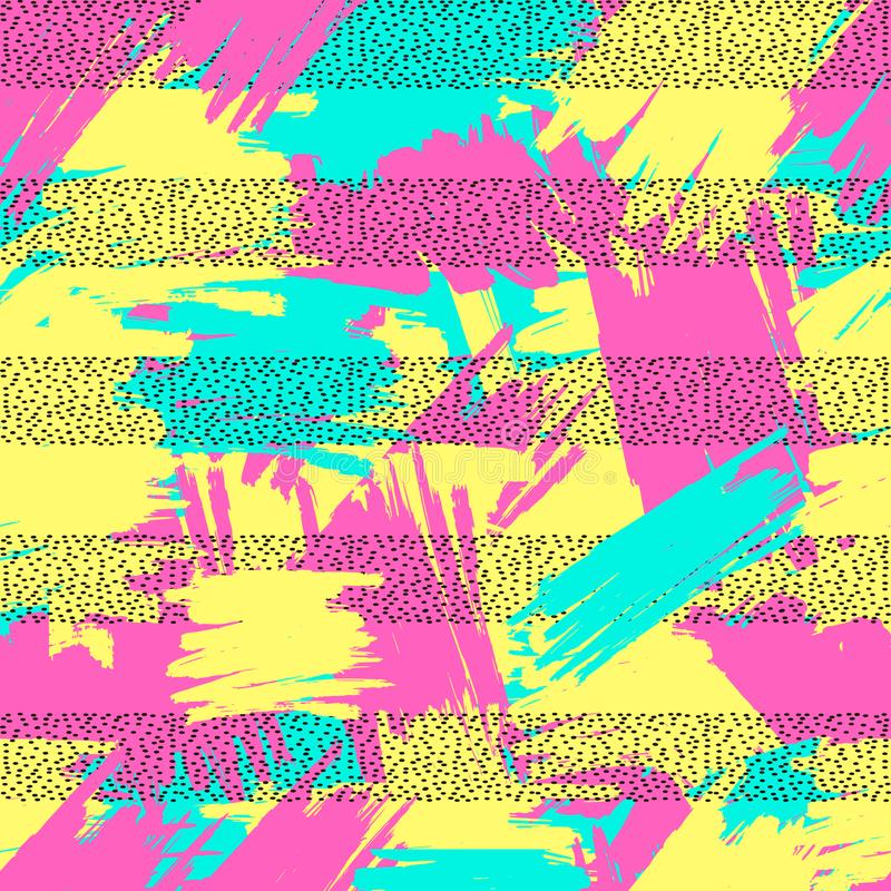 Bright seamless pattern from the colorful brush strokes and bla royalty free illustration