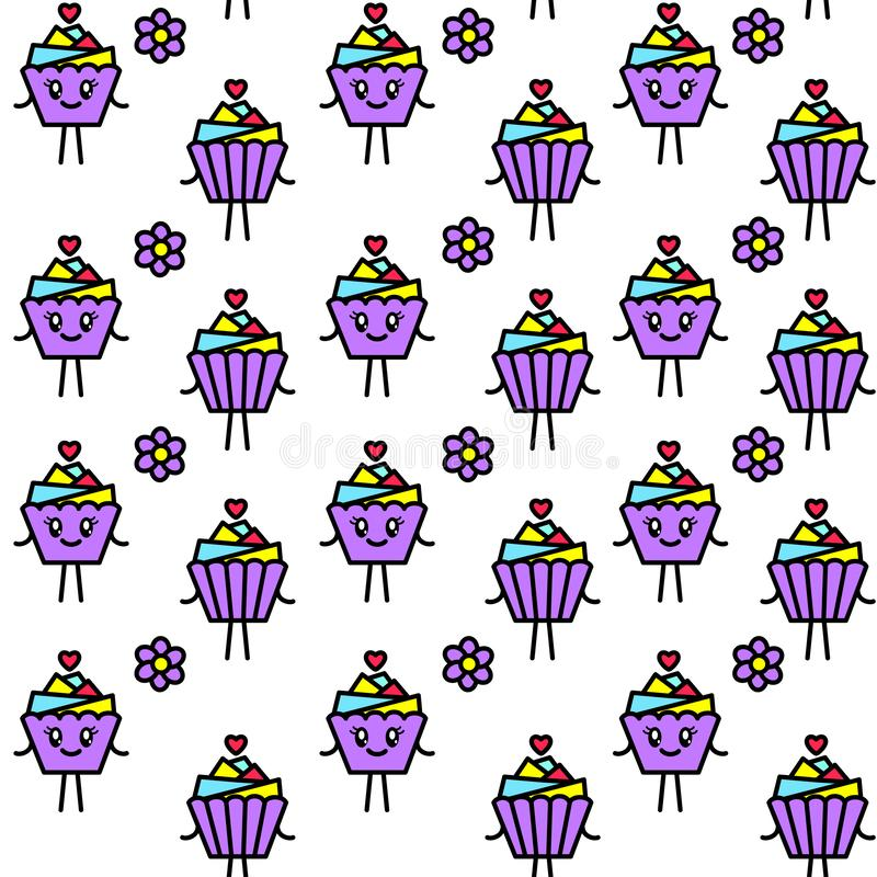 Bright seamless pattern with cupcake in kawaii style. vector illustration