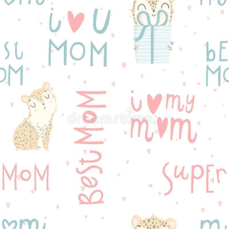 Bright seamless pattern with cute baby leopard, hand drawn mother`s day lettering. royalty free illustration