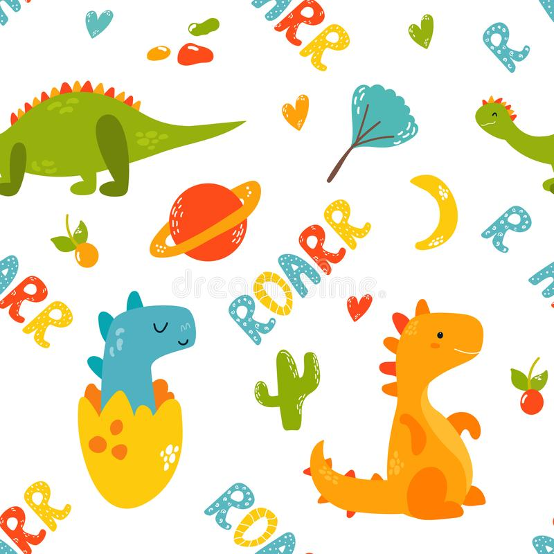 Bright seamless pattern with cute dinosaurs vector illustration