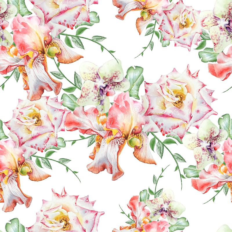 Bright seamless pattern with flowers. Iris. Orchid. Rose. Watercolor illustration. Hand drawn stock illustration