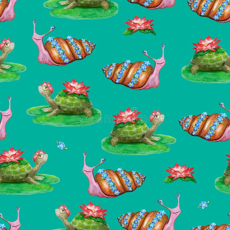 Bright seamless pattern with funny cartoon animals. Hand-drawn watercolor turtles and snails with flowers. vector illustration