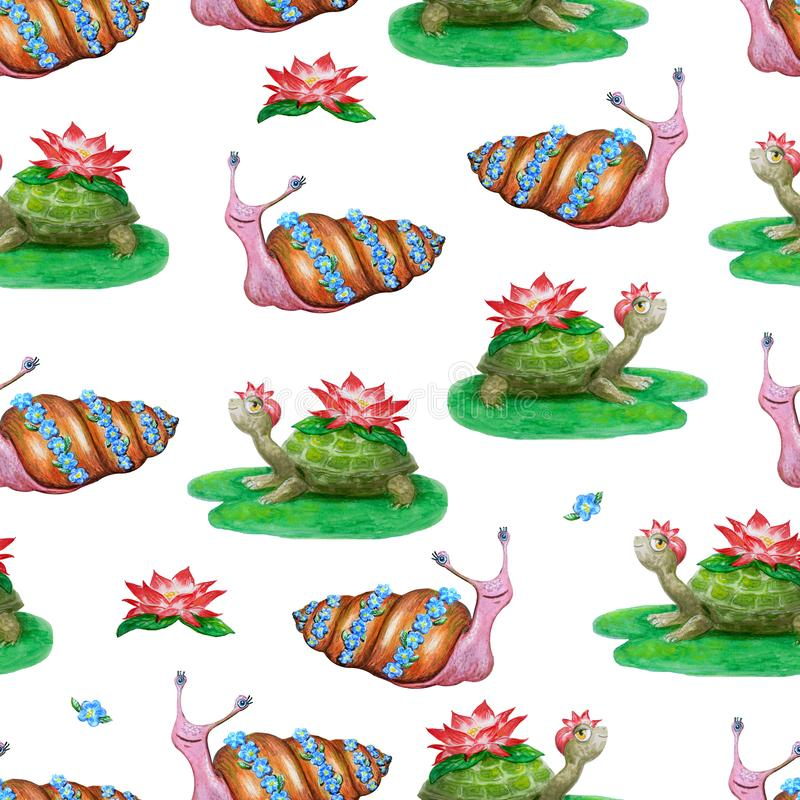 Bright seamless pattern with funny cartoon animals. Hand-drawn watercolor turtles and snails with flowers. White background for stock illustration