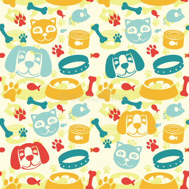 Download Bright Seamless Pattern With Funny Cat And Dog Royalty Free Stock Images - Image: 25048429