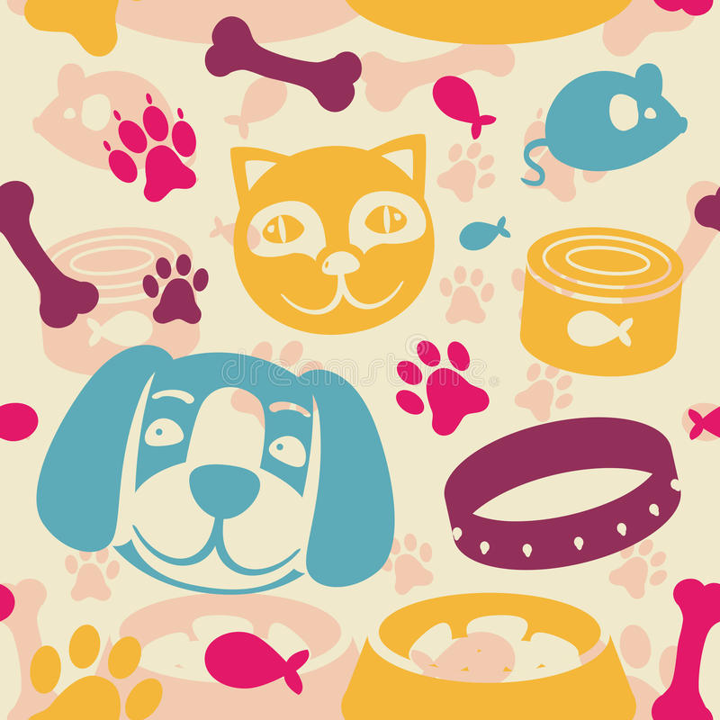 Download Bright Seamless Pattern With Funny Cat And Dog Stock Vector - Image: 25048434