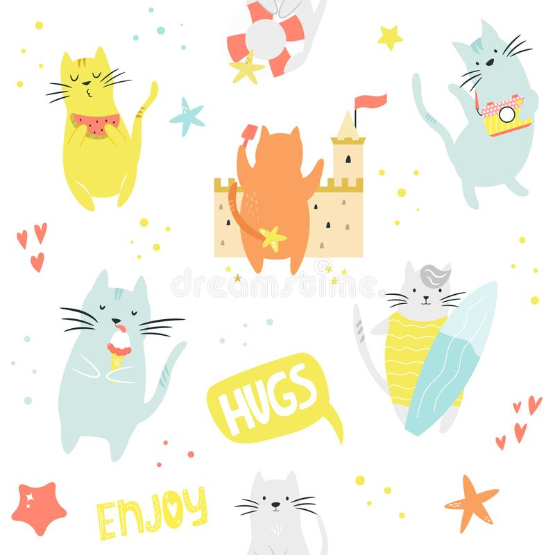 Bright seamless pattern with funny cats on the beach. stock illustration