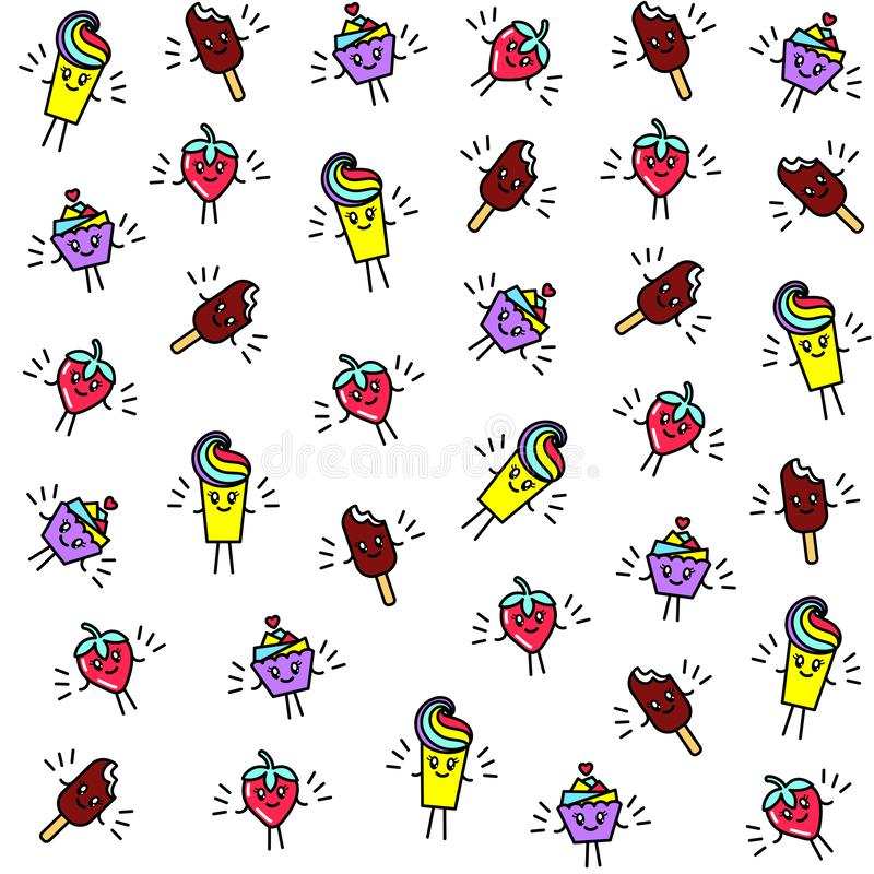 Bright seamless pattern with funny characters cupcake, ice cream, strawberries and dessert in the style of kawaii. stock illustration