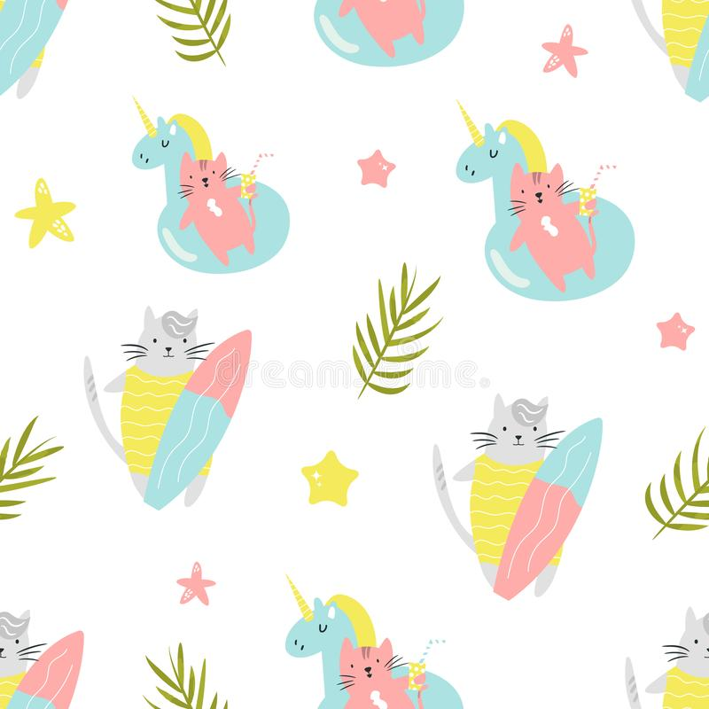 Bright seamless pattern with funny summer cats vector illustration