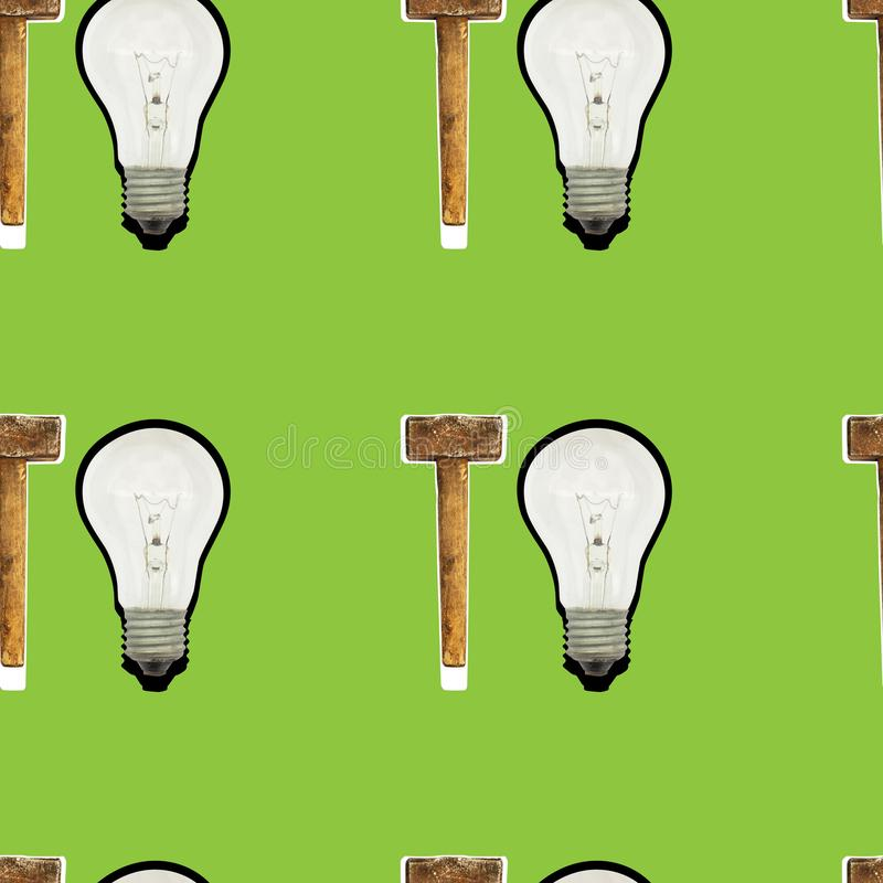 Bright seamless pattern of glass bulbs and hammer on a green background royalty free stock image