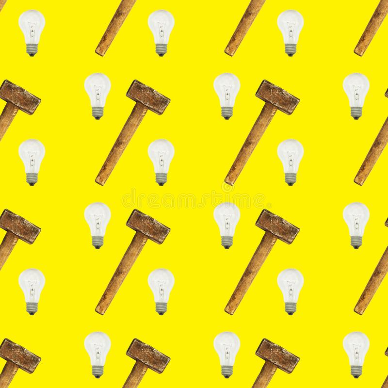 Bright seamless pattern of glass bulbs and hammer on yellow background stock illustration
