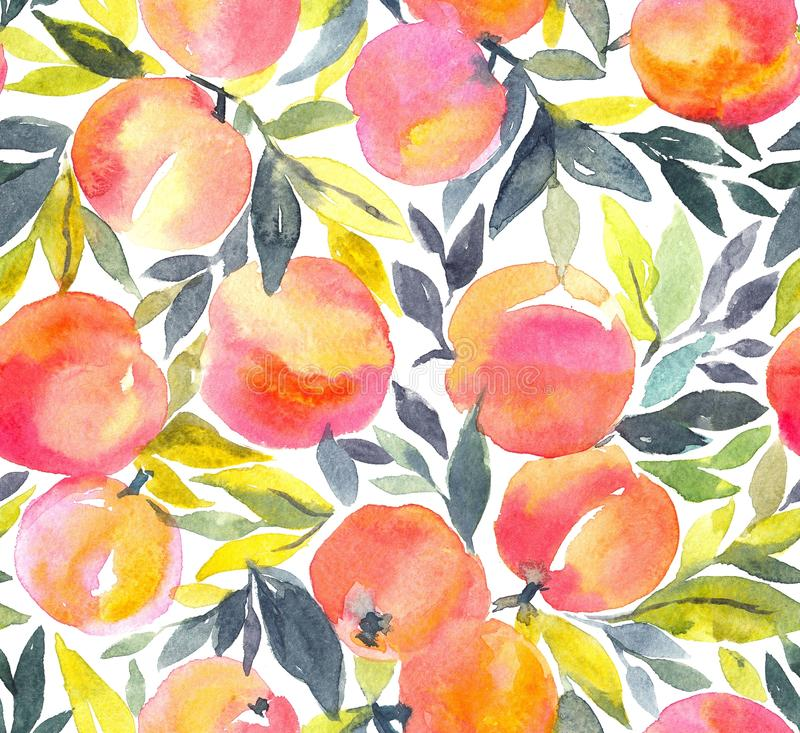 Bright seamless pattern with hand painted watercolor peaches. vector illustration