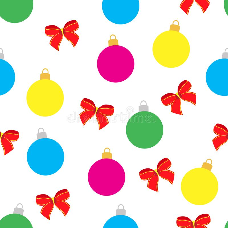 Bright seamless pattern for holiday. Vector illustration of Christmas balls and bows. royalty free stock photos