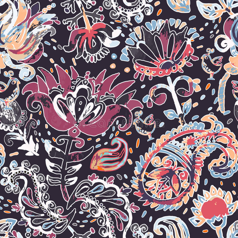 Bright seamless pattern in paisley style royalty free illustration