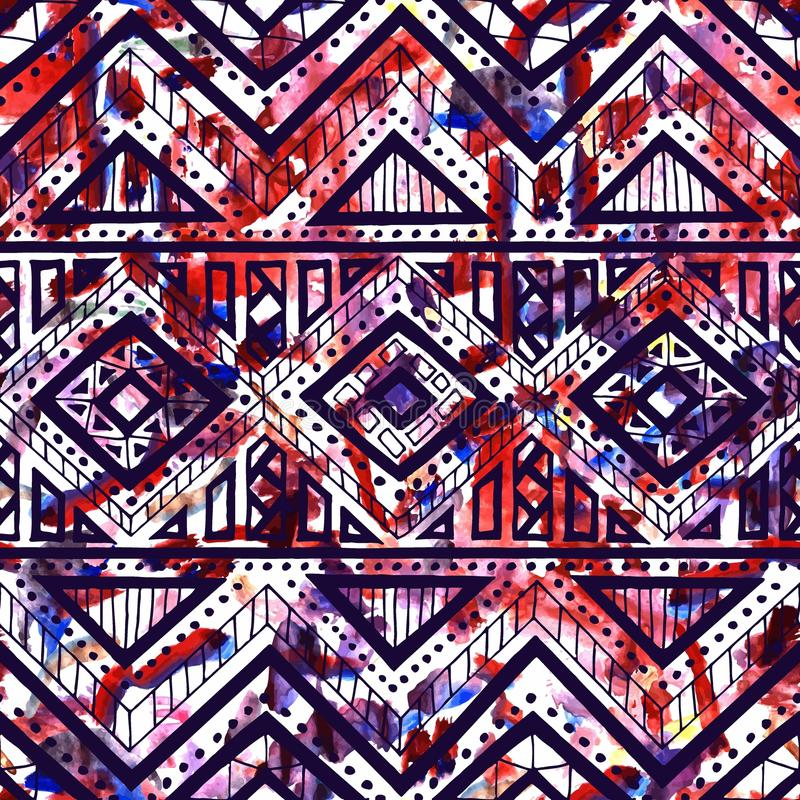 Bright seamless pattern. Watercolor texture. Ethnic and tribal stock illustration