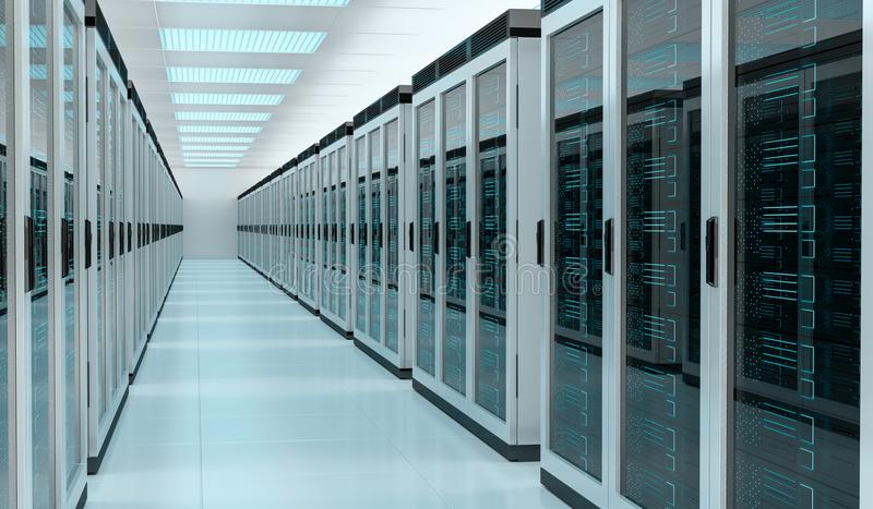 Server room data center interior 3D rendering stock illustration