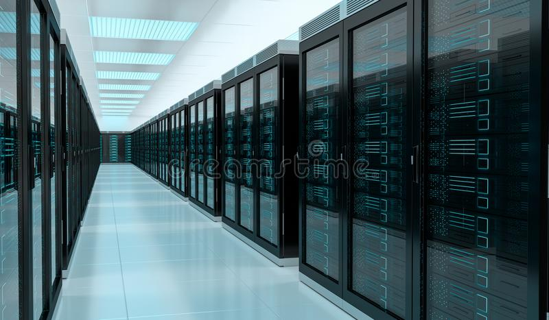 Server room data center interior 3D rendering vector illustration