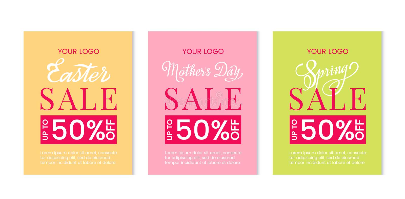 Bright set of discount templates for mothers day, easter sale and spring sales. Template for postcard, advertising, coupon, vector illustration