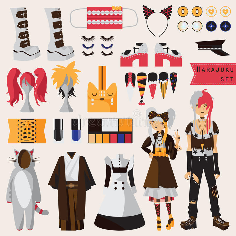 Bright set with subculture of japanese harajuku street fashion, couple in visual kei style with accessories for cosplay and creati stock illustration