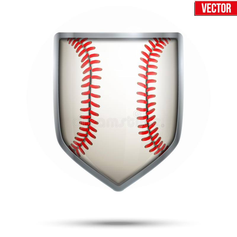 Bright shield in the baseball ball inside. Vector. royalty free stock photo