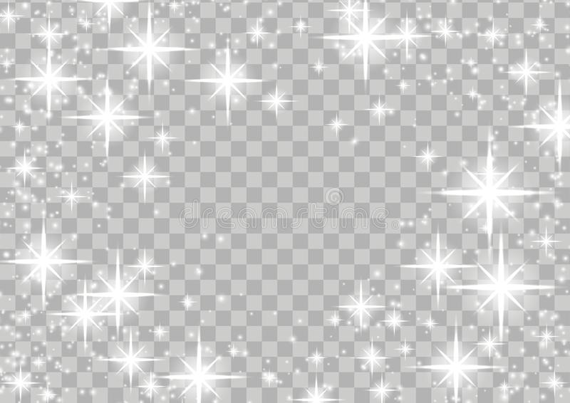 Bright shimmering star glow magical frame layout over checkered stock illustration