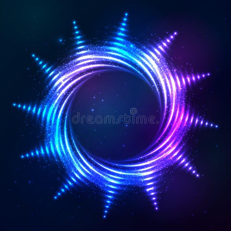 Bright shining blue neon spiral sun at dark cosmic stock illustration