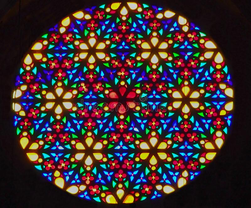 Bright shining round stained glass window stock photos