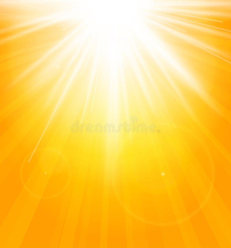 Bright shining sun with lens flare. vector illustration