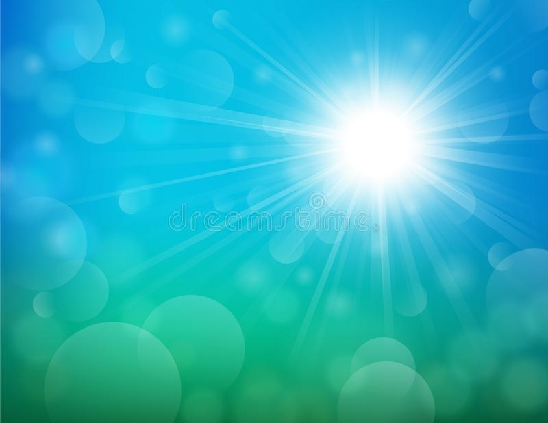Bright shining sun with lens flare background royalty free illustration