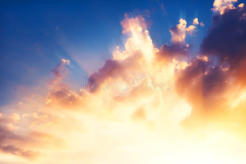 Bright shining sunset sky stock images