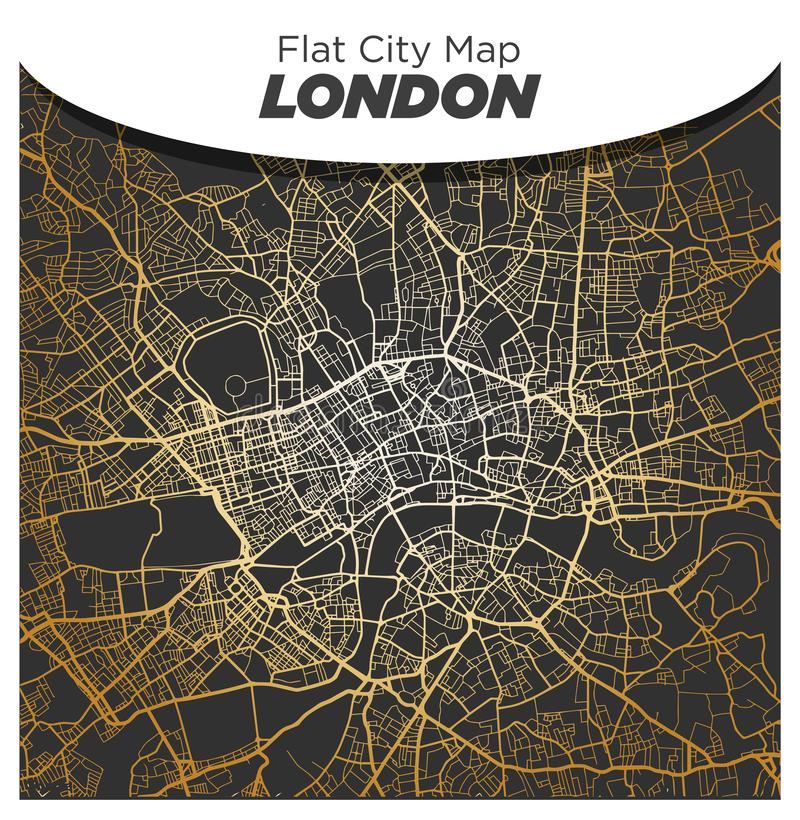 Bright Shiny Map of Central London on Dark Black Background stock photography