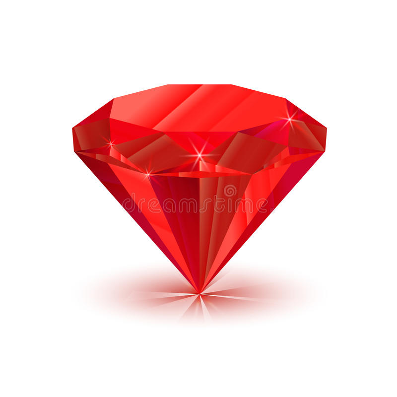 Bright shiny ruby on white. Rrealistic, bright shiny ruby isolated on white royalty free illustration