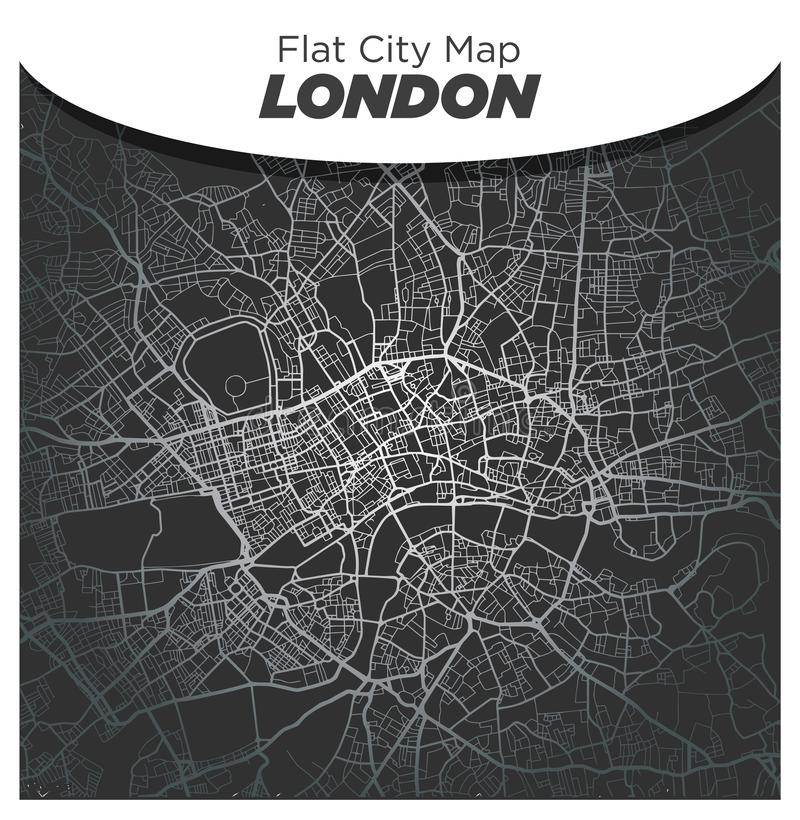 Bright Shiny Silver Street Map of Central London England on Dark Black Background stock photo