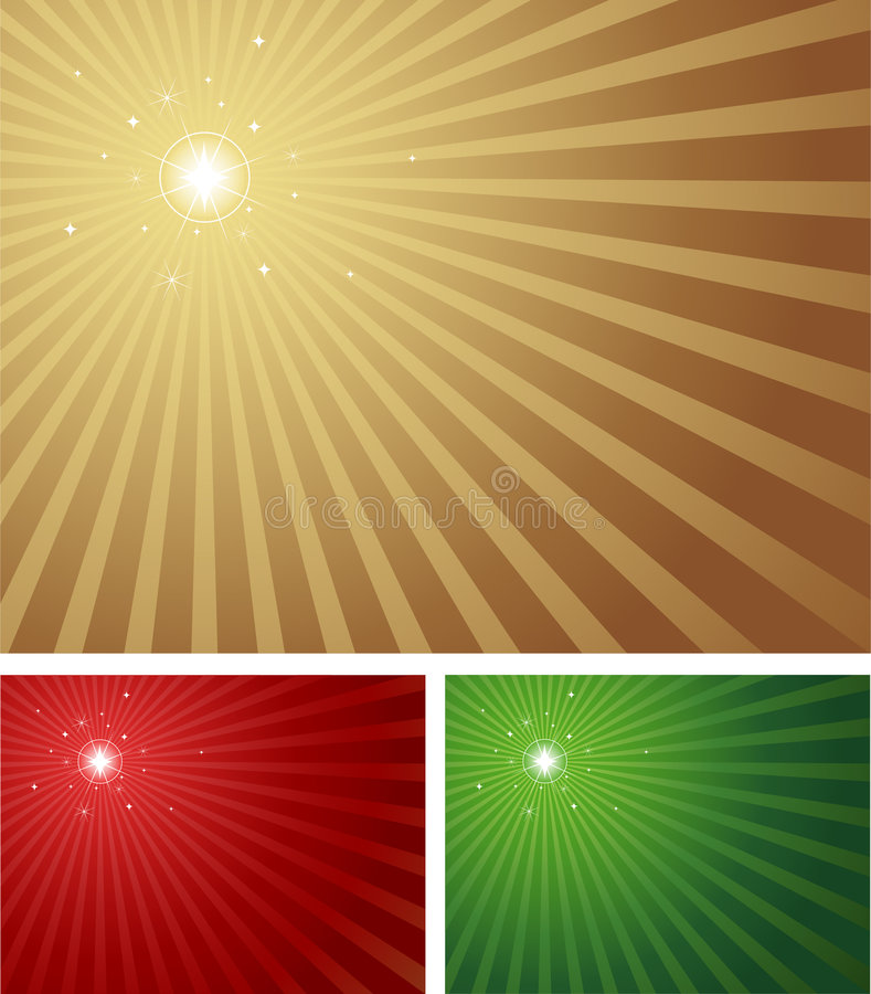 Bright Shiny Star. Star shining brightly with a radial background in 3 Christmas colours. Blue version with a centred star also available in portfolio royalty free illustration