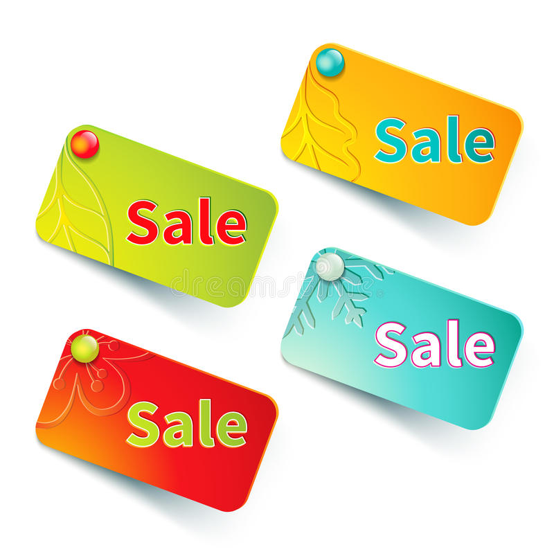 Spring, Summer, Autumn, Winter Labels With Special Stock