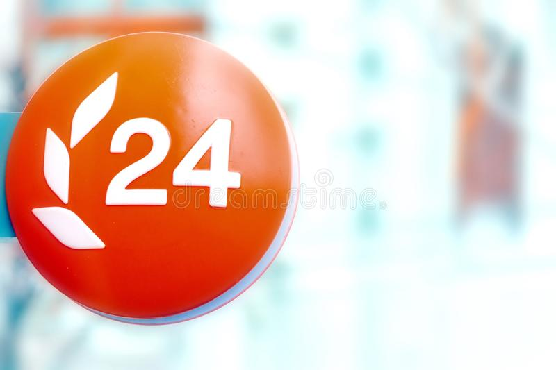 Bright sign logo 24. Business concept for working all day stock photo