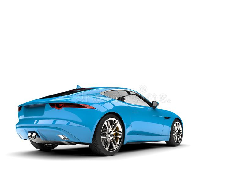 Bright sky blue modern concept sports car - tail view. Isolated on white background stock illustration