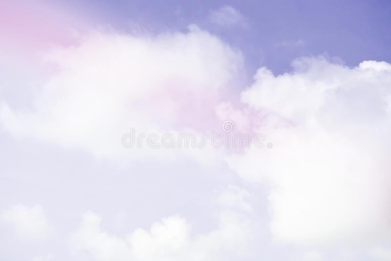 Bright sky and cloud colorful pink and blue pastel tone color.  stock photo